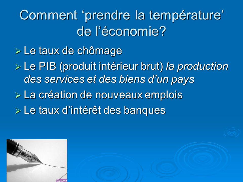Comment prendre la température de léconomie? Le taux de chômage Le taux de chômage Le PIB (produit intérieur brut) la production des services et des b