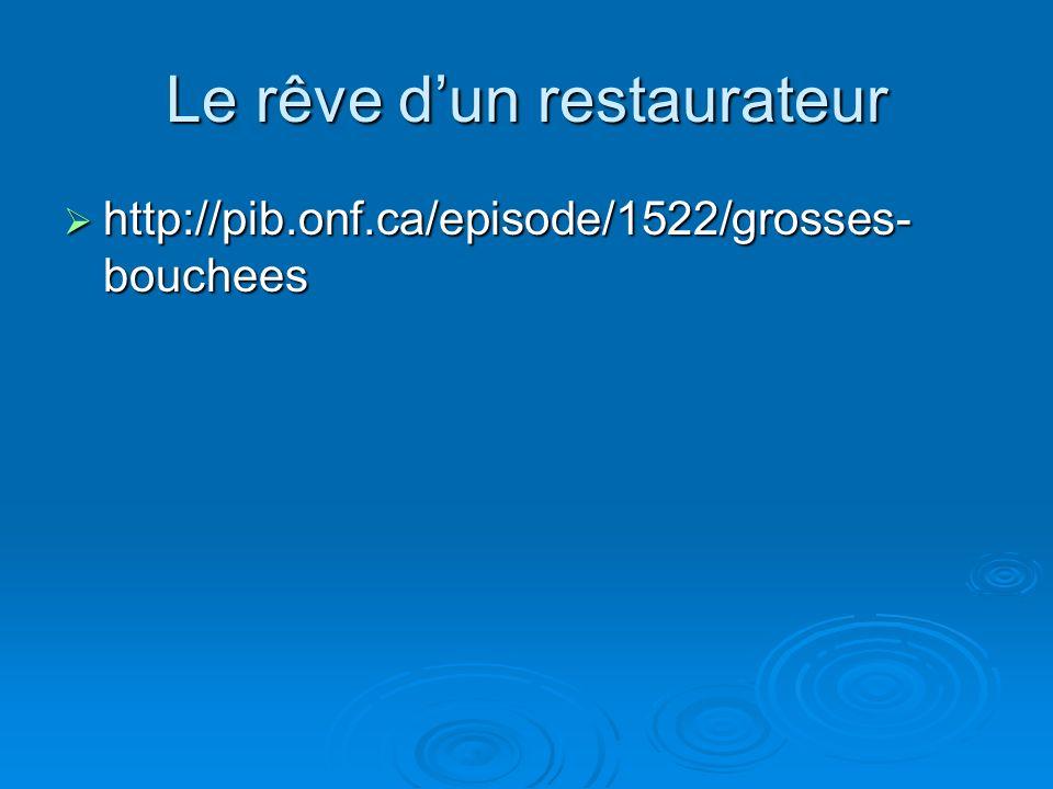 Le rêve dun restaurateur http://pib.onf.ca/episode/1522/grosses- bouchees http://pib.onf.ca/episode/1522/grosses- bouchees