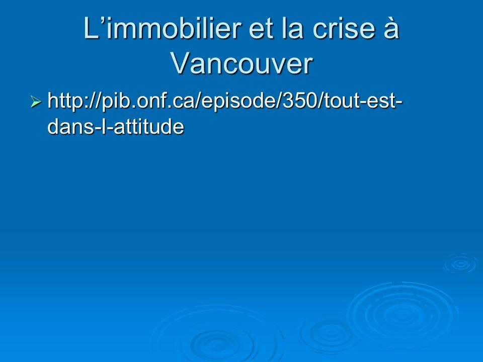Limmobilier et la crise à Vancouver http://pib.onf.ca/episode/350/tout-est- dans-l-attitude http://pib.onf.ca/episode/350/tout-est- dans-l-attitude
