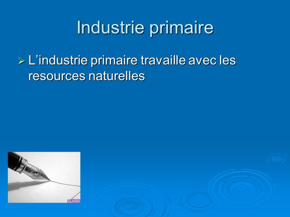 Industrie primaire Lindustrie primaire travaille avec les resources naturelles Lindustrie primaire travaille avec les resources naturelles