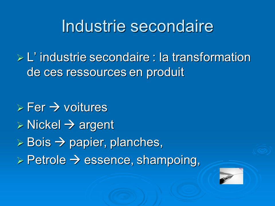 Industrie secondaire L industrie secondaire : la transformation de ces ressources en produit L industrie secondaire : la transformation de ces ressour