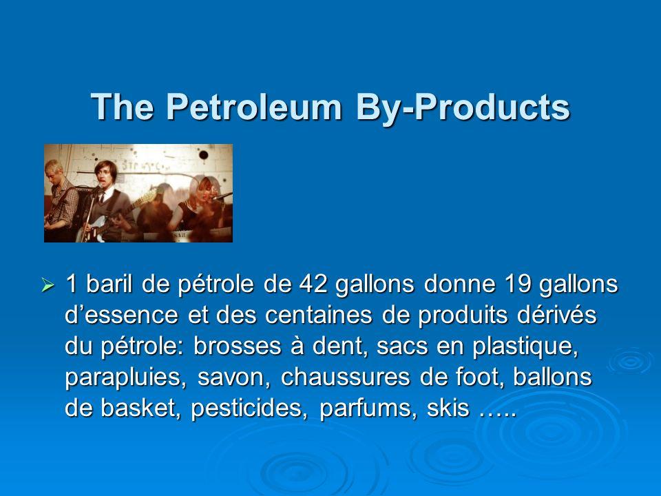 The Petroleum By-Products The Petroleum By-Products 1 baril de pétrole de 42 gallons donne 19 gallons dessence et des centaines de produits dérivés du