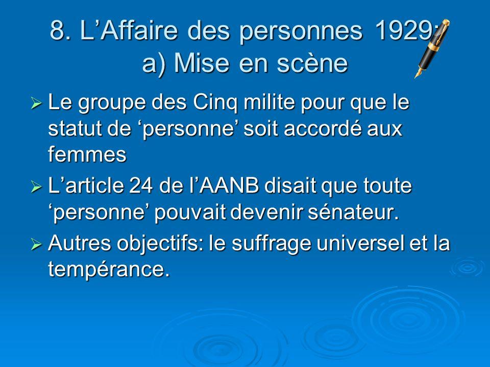 8. LAffaire des personnes 1929: a) Mise en scène Le groupe des Cinq milite pour que le statut de personne soit accordé aux femmes Le groupe des Cinq m