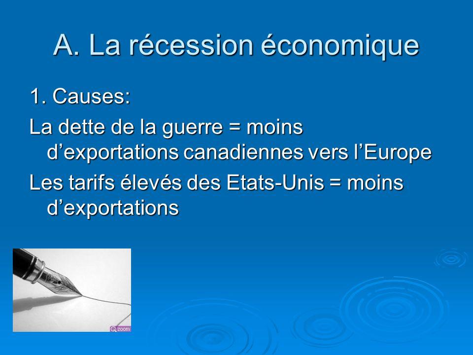 A. La récession économique 1. Causes: La dette de la guerre = moins dexportations canadiennes vers lEurope Les tarifs élevés des Etats-Unis = moins de