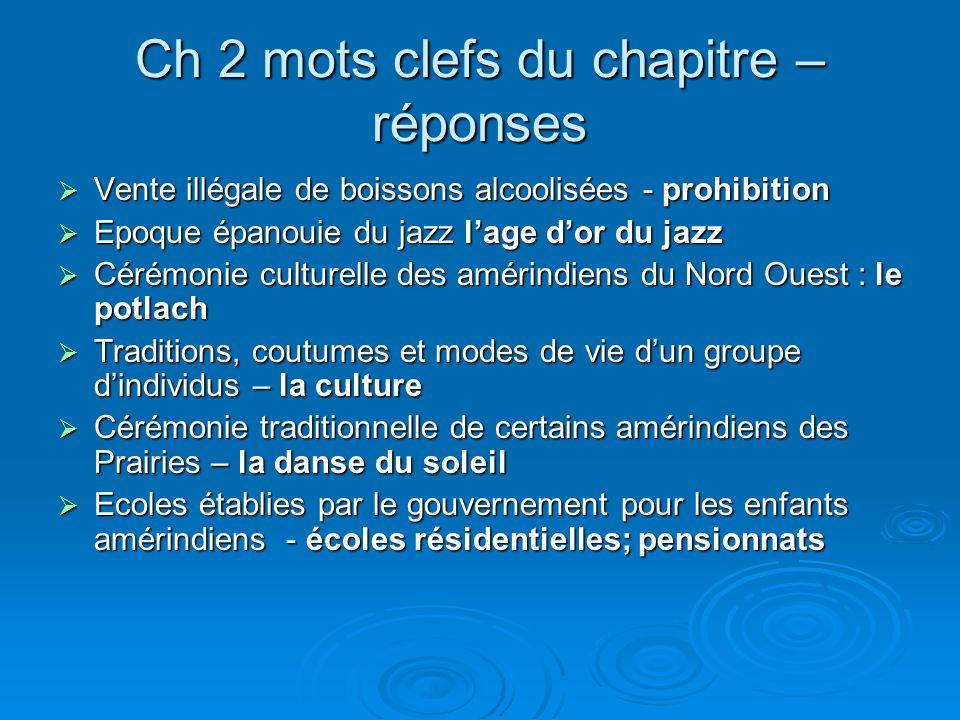 Ch 2 mots clefs du chapitre – réponses Vente illégale de boissons alcoolisées - prohibition Vente illégale de boissons alcoolisées - prohibition Epoqu