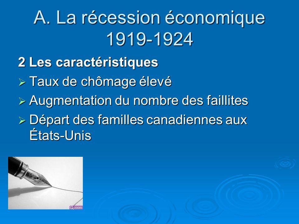 A. La récession économique 1919-1924 2 Les caractéristiques Taux de chômage élevé Taux de chômage élevé Augmentation du nombre des faillites Augmentat