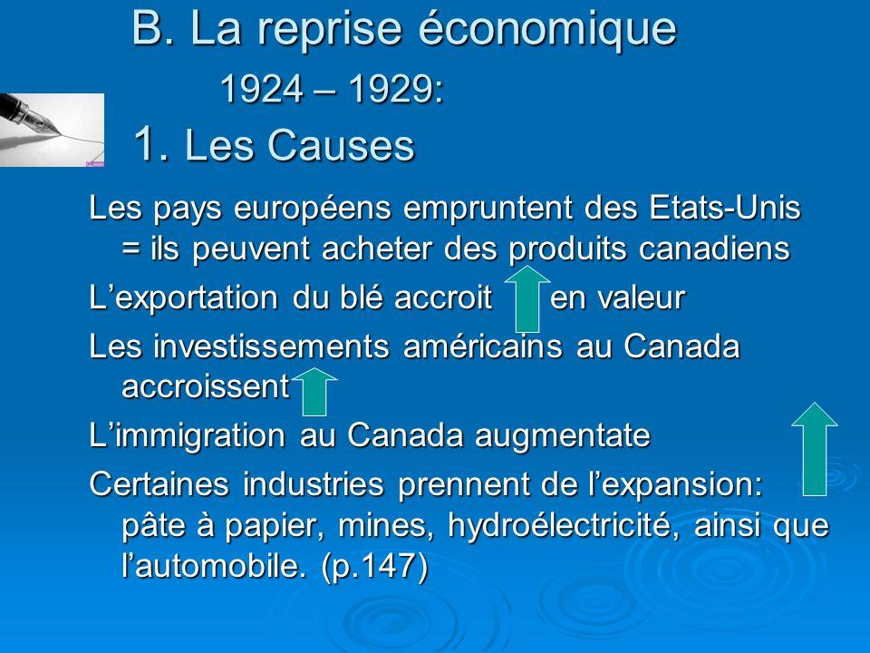 B. La reprise économique 1924 – 1929: 1. Les Causes Les pays européens empruntent des Etats-Unis = ils peuvent acheter des produits canadiens Lexporta