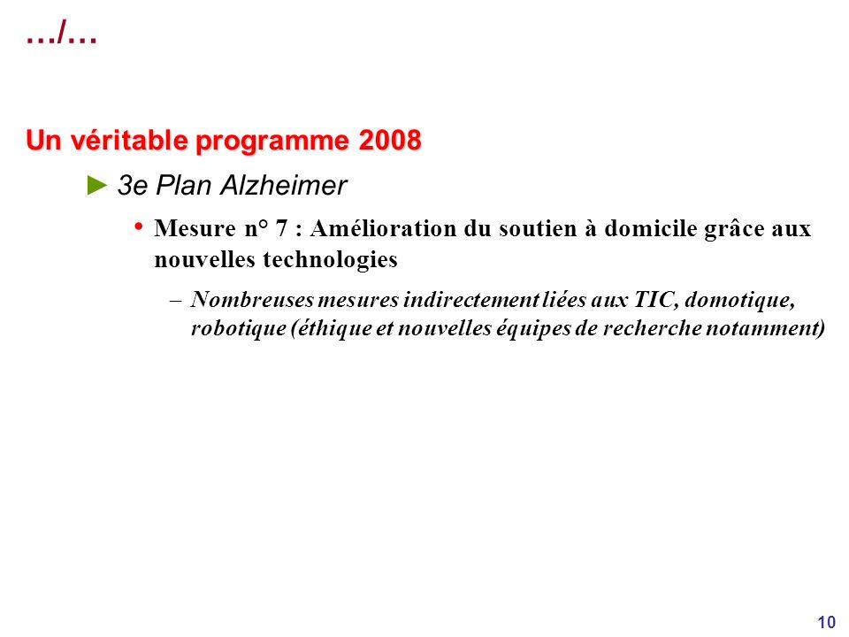 10 …/… Un véritable programme 2008 3e Plan Alzheimer Mesure n° 7 : Amélioration du soutien à domicile grâce aux nouvelles technologies –Nombreuses mesures indirectement liées aux TIC, domotique, robotique (éthique et nouvelles équipes de recherche notamment)