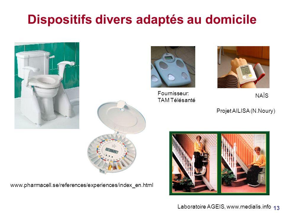 13 Dispositifs divers adaptés au domicile Fournisseur: TAM Télésanté NAÏS Projet AILISA (N.Noury) www.pharmacell.se/references/experiences/index_en.html Laboratoire AGEIS, www.medialis.info