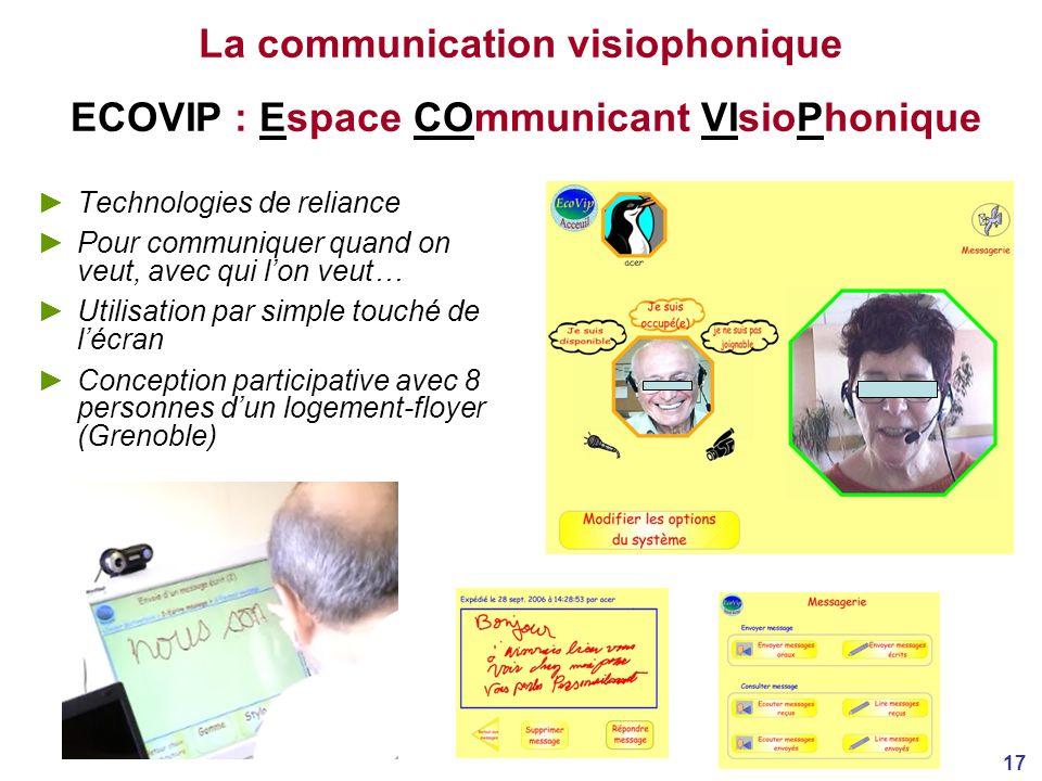 17 La communication visiophonique ECOVIP : Espace COmmunicant VIsioPhonique Technologies de reliance Pour communiquer quand on veut, avec qui lon veut… Utilisation par simple touché de lécran Conception participative avec 8 personnes dun logement-floyer (Grenoble)
