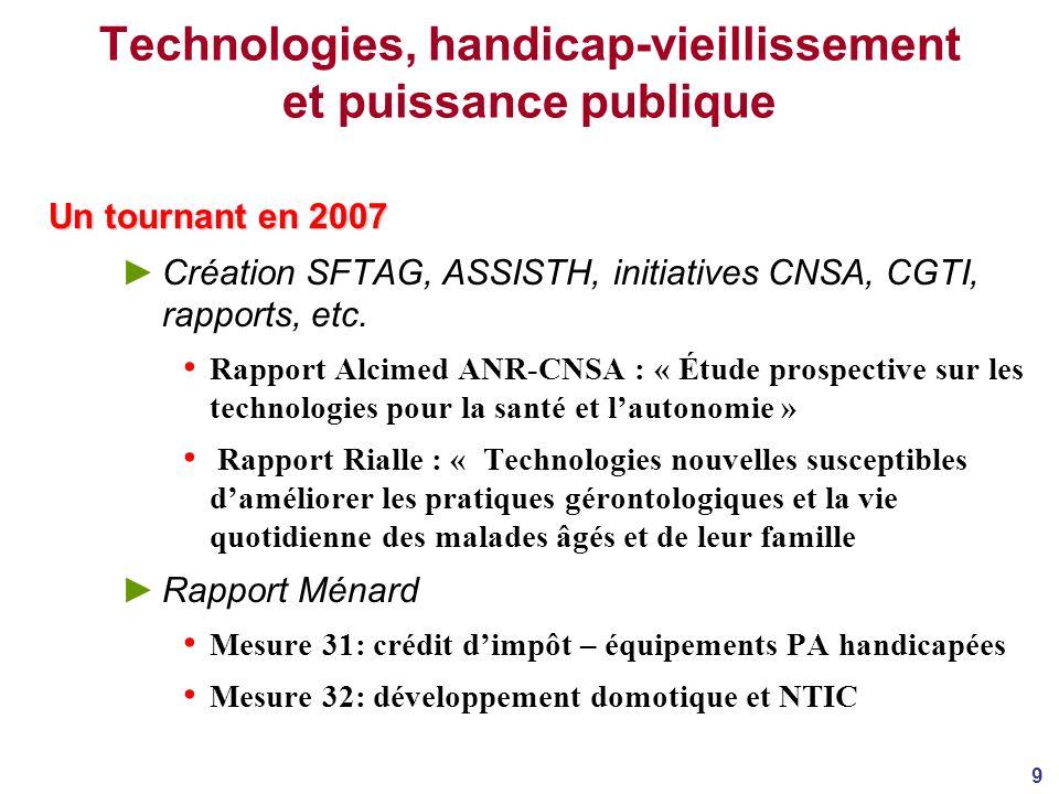 9 Technologies, handicap-vieillissement et puissance publique Un tournant en 2007 Création SFTAG, ASSISTH, initiatives CNSA, CGTI, rapports, etc.