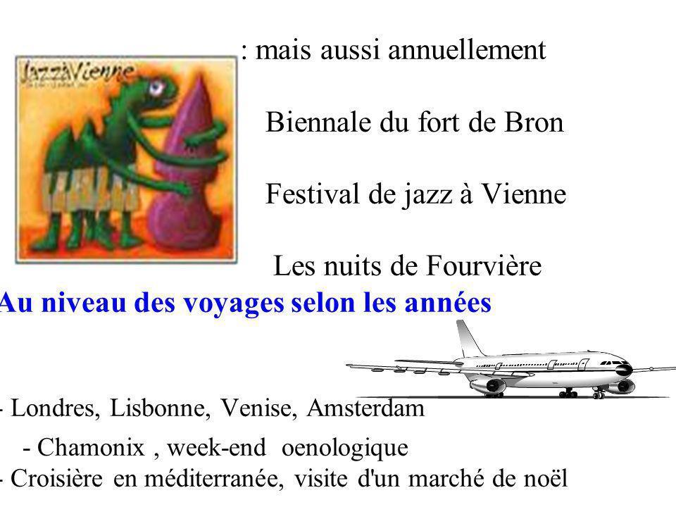 : mais aussi annuellement Biennale du fort de Bron Festival de jazz à Vienne Les nuits de Fourvière Au niveau des voyages selon les années - Londres, Lisbonne, Venise, Amsterdam - Chamonix, week-end oenologique - Croisière en méditerranée, visite d un marché de noël
