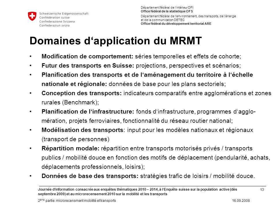 13 Journée dinformation consacrée aux enquêtes thématiques 2010 – 2014, à lEnquête suisse sur la population active (dès septembre 2009) et au microrec