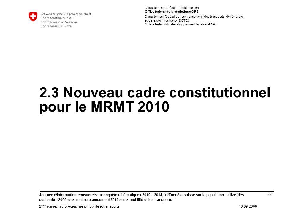 14 Journée dinformation consacrée aux enquêtes thématiques 2010 – 2014, à lEnquête suisse sur la population active (dès septembre 2009) et au microrec