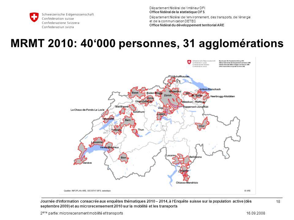18 Journée dinformation consacrée aux enquêtes thématiques 2010 – 2014, à lEnquête suisse sur la population active (dès septembre 2009) et au microrec