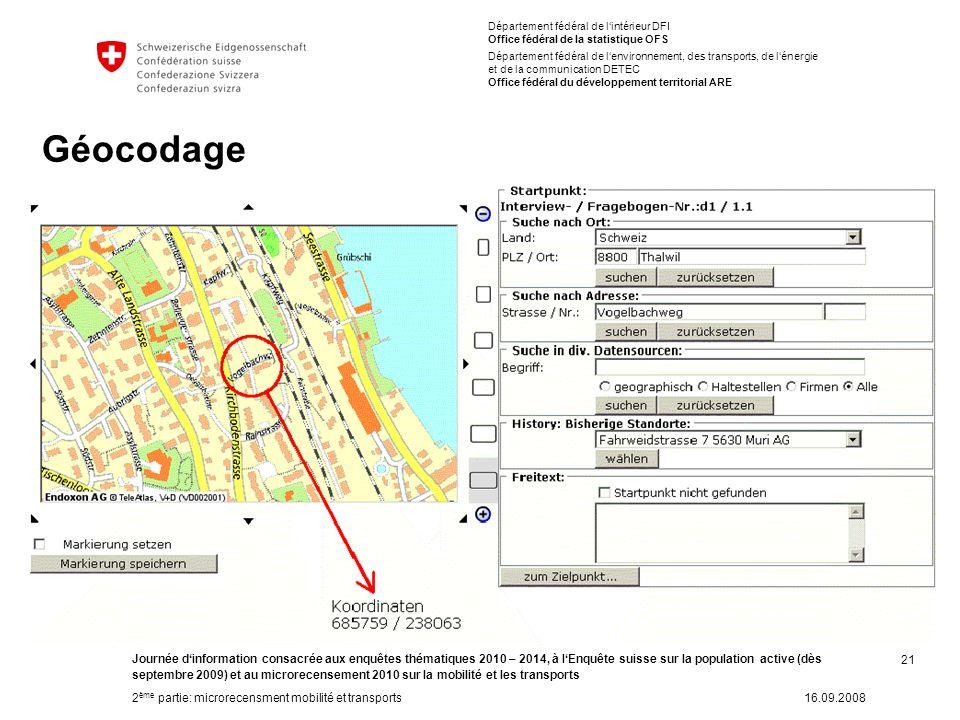 21 Journée dinformation consacrée aux enquêtes thématiques 2010 – 2014, à lEnquête suisse sur la population active (dès septembre 2009) et au microrec
