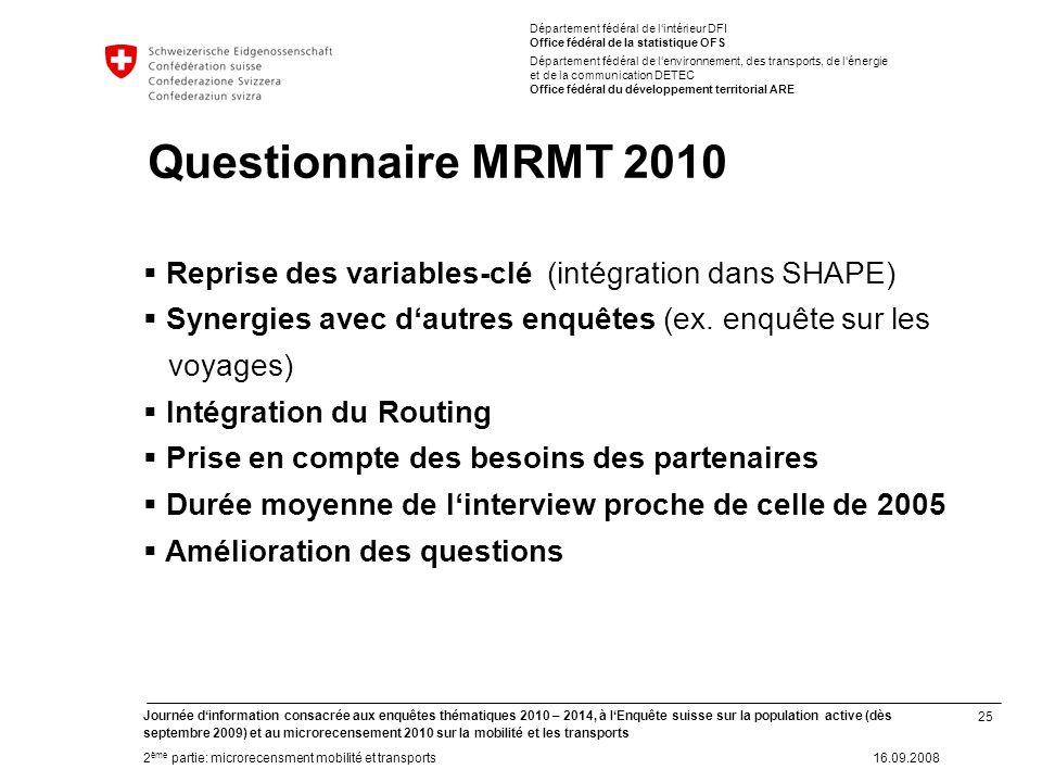 25 Journée dinformation consacrée aux enquêtes thématiques 2010 – 2014, à lEnquête suisse sur la population active (dès septembre 2009) et au microrec