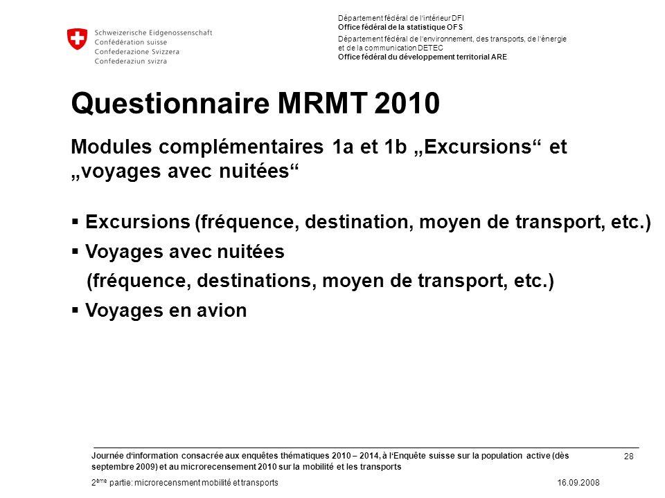 28 Journée dinformation consacrée aux enquêtes thématiques 2010 – 2014, à lEnquête suisse sur la population active (dès septembre 2009) et au microrec