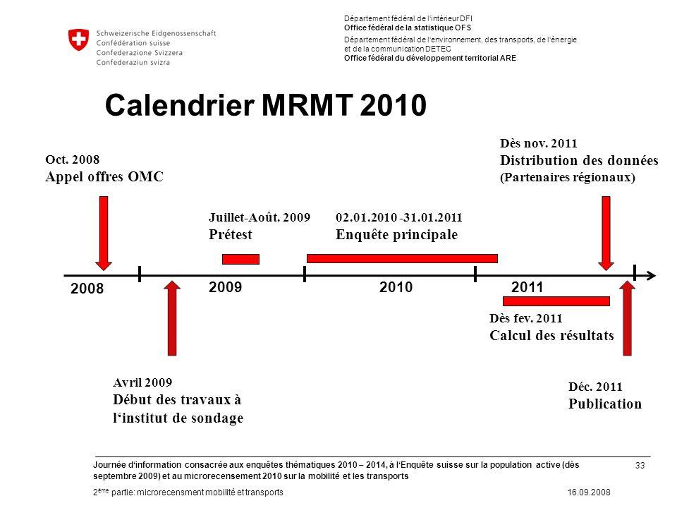 33 Journée dinformation consacrée aux enquêtes thématiques 2010 – 2014, à lEnquête suisse sur la population active (dès septembre 2009) et au microrec