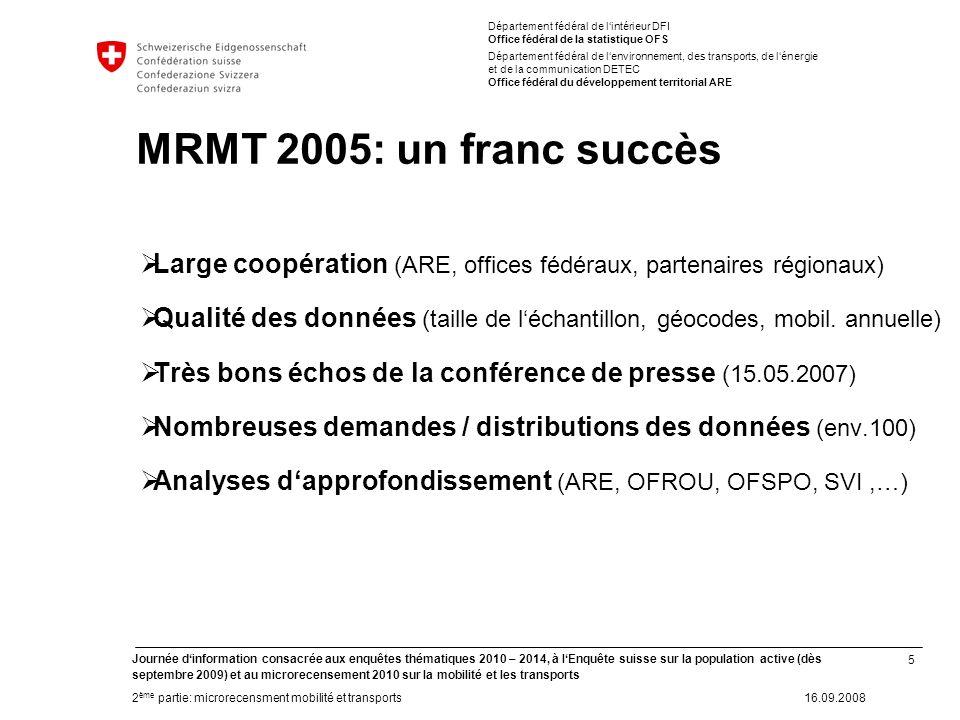 5 Journée dinformation consacrée aux enquêtes thématiques 2010 – 2014, à lEnquête suisse sur la population active (dès septembre 2009) et au microrece