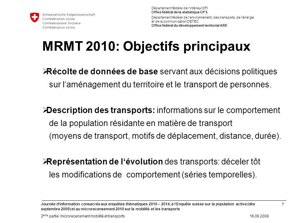 7 Journée dinformation consacrée aux enquêtes thématiques 2010 – 2014, à lEnquête suisse sur la population active (dès septembre 2009) et au microrece