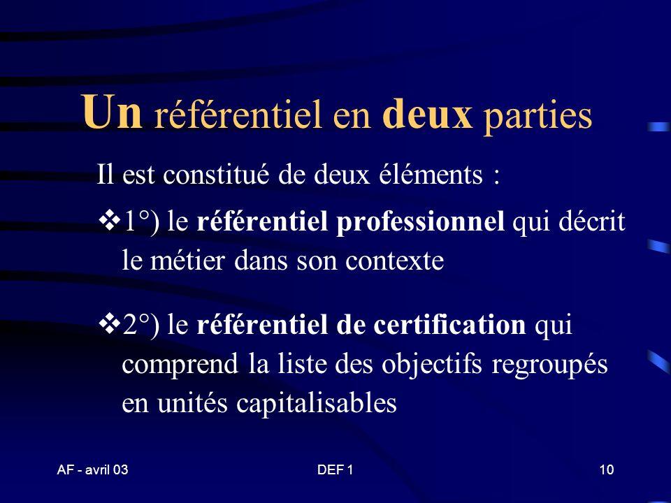 AF - avril 03DEF 19 Un référentiel compétences de formation d activités de certification professionnel ?