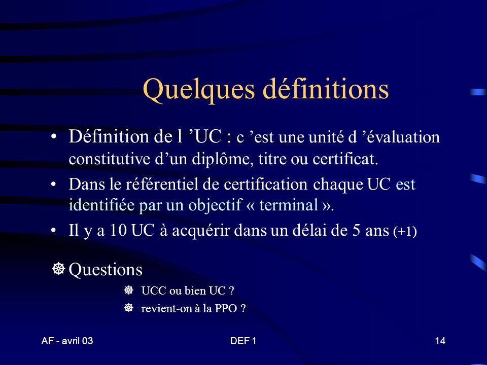AF - avril 03DEF 113 Un diplôme en unités capitalisables (UC) Chaque UC est identifiée par un comportement complexe et caractéristique traduit en obje