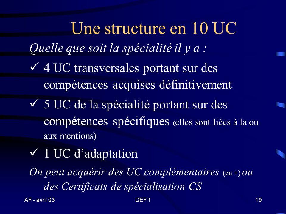 AF - avril 03DEF 118 BP JEPS spécialité « activités …….. » mention « ……….. » 1234 567 10 UC transversales UC de la spécialté UC de la mention …………...