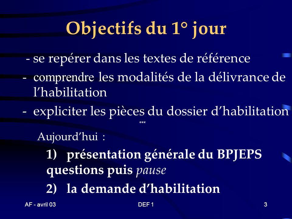 AF - avril 03DEF 123 Spécialité « activités ……..» du brevet professionnel - mention « ………..