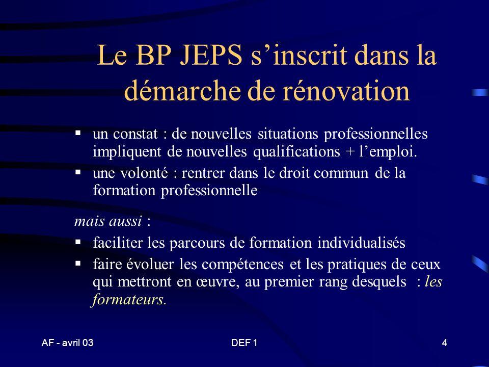 AF - avril 03DEF 14 Le BP JEPS sinscrit dans la démarche de rénovation un constat : de nouvelles situations professionnelles impliquent de nouvelles qualifications + lemploi.