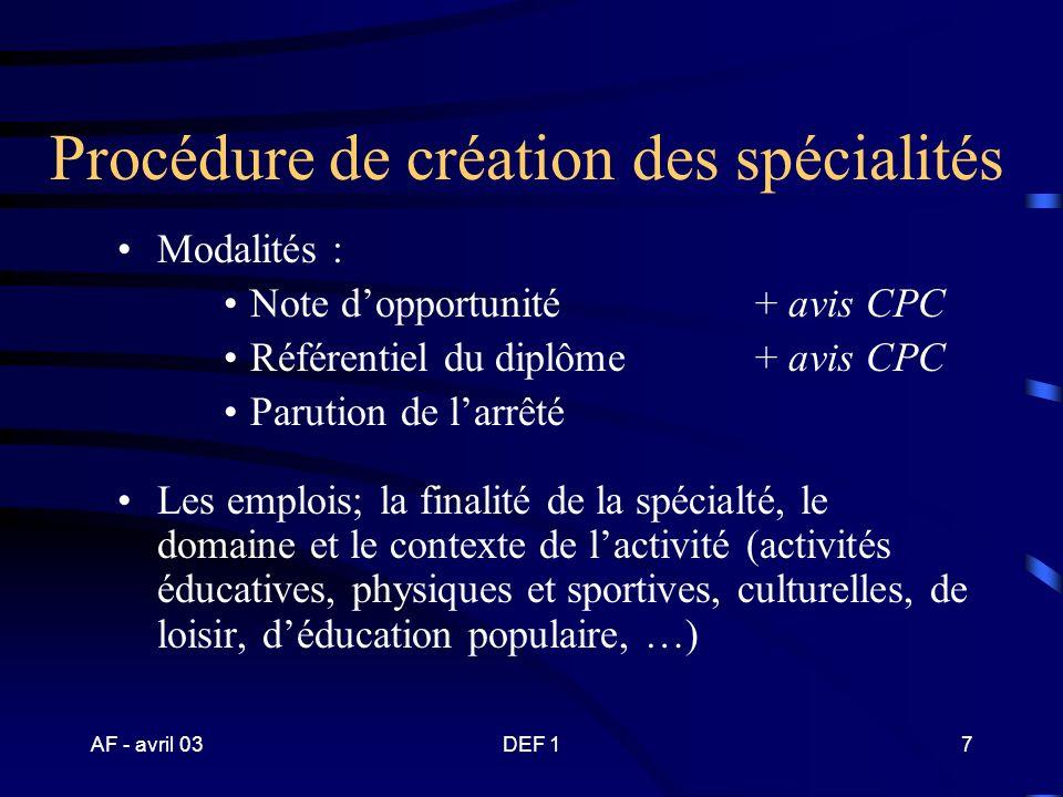 AF - avril 03DEF 117 BP JEPS spécialité « activités ……..