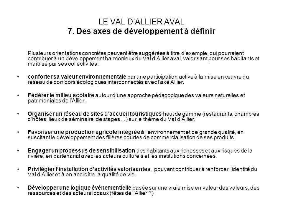 LE VAL DALLIER AVAL 7. Des axes de développement à définir Plusieurs orientations concrètes peuvent être suggérées à titre dexemple, qui pourraient co