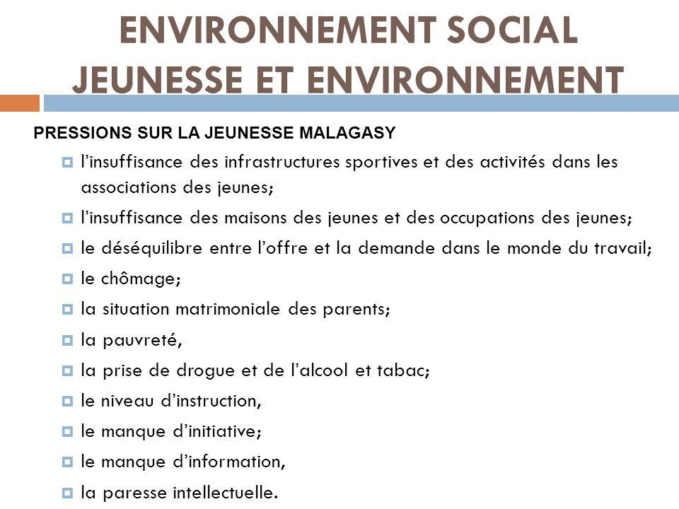 ENVIRONNEMENT SOCIAL JEUNESSE ET ENVIRONNEMENT MESURES PRISES (1) Mise en œuvre de la Politique Nationale de la Jeunesse à Madagascar.