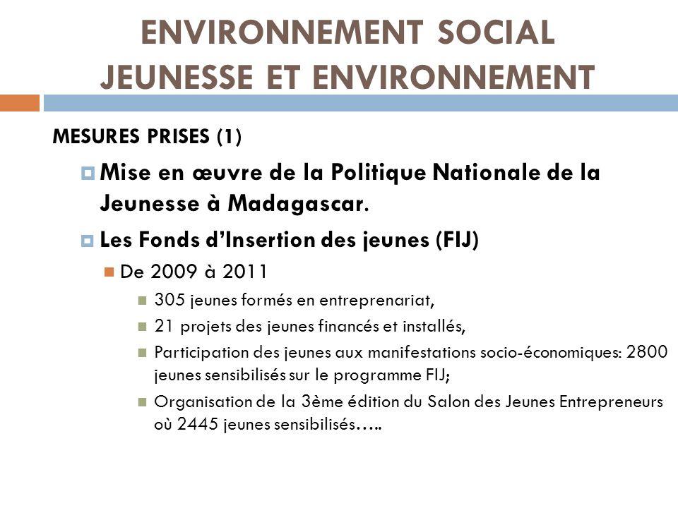 ENVIRONNEMENT SOCIAL JEUNESSE ET ENVIRONNEMENT MESURES PRISES (1) Mise en œuvre de la Politique Nationale de la Jeunesse à Madagascar. Les Fonds dInse