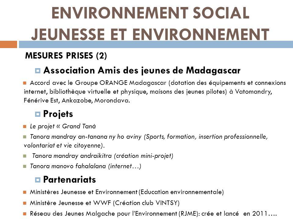 ENVIRONNEMENT SOCIAL JEUNESSE ET ENVIRONNEMENT MESURES PRISES (2) Association Amis des jeunes de Madagascar Accord avec le Groupe ORANGE Madagascar (d