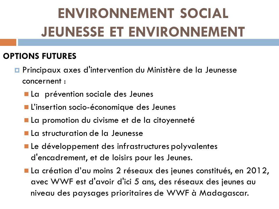 ENVIRONNEMENT SOCIAL JEUNESSE ET ENVIRONNEMENT OPTIONS FUTURES Principaux axes d'intervention du Ministère de la Jeunesse concernent : La prévention s