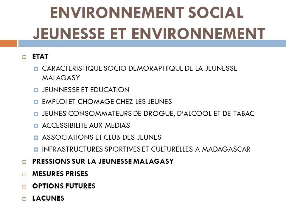 ENVIRONNEMENT SOCIAL JEUNESSE ET ENVIRONNEMENT 1- CARACTERISTIQUE SOCIO DEMORAPHIQUE DE LA JEUNESSE MALAGASY Importance démographique Source : Ministère de la Jeunesse et des loisirs, Rapport social et environnemental 2006-2011
