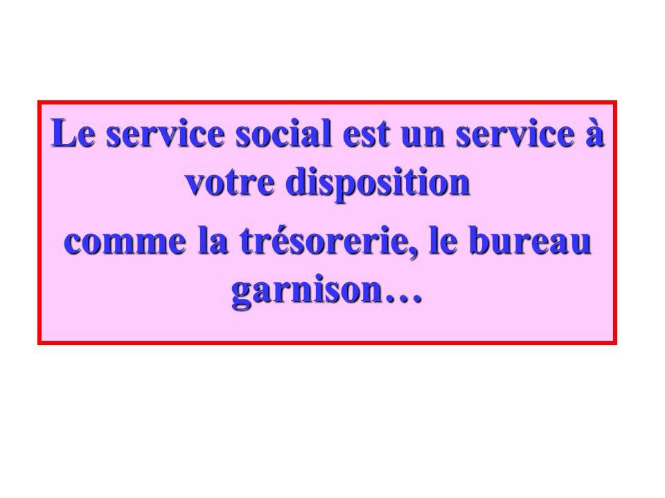 Le service social est un service à votre disposition comme la trésorerie, le bureau garnison…