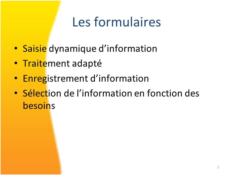 2 Saisie dynamique dinformation Traitement adapté Enregistrement dinformation Sélection de linformation en fonction des besoins