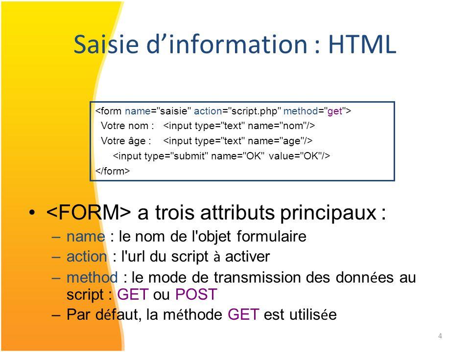 5 Saisie dinformation : HTML Votre nom : Votre âge : Un champ de formulaire est composé de : – Un type – Un nom : attribut name – Une valeur : saisie par utilisateur / attribut value