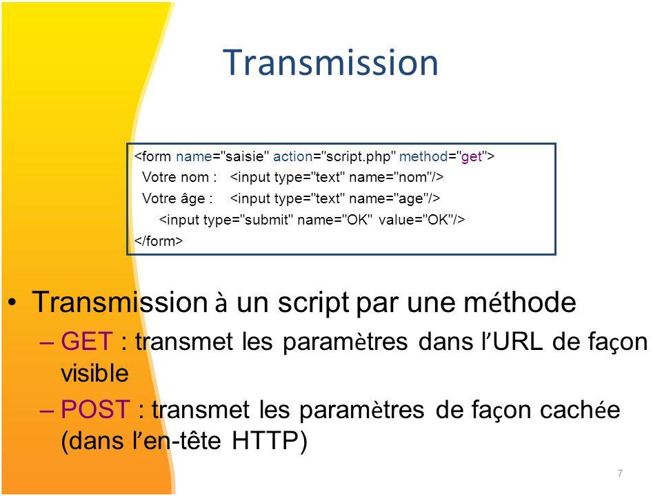7 Transmission Transmission à un script par une m é thode –GET : transmet les param è tres dans l URL de fa ç on visible –POST : transmet les param è