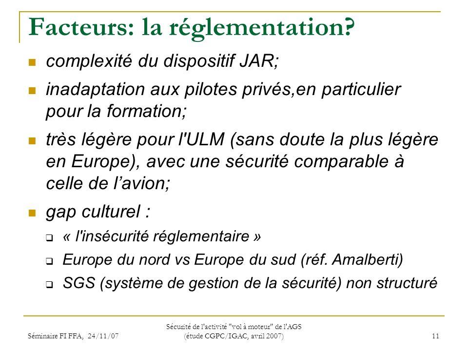 Séminaire FI FFA, 24/11/07 Sécurité de l activité vol à moteur de l AGS (étude CGPC/IGAC, avril 2007) 11 Facteurs: la réglementation.