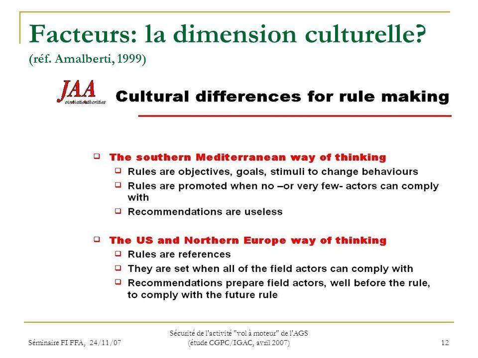 Séminaire FI FFA, 24/11/07 Sécurité de l activité vol à moteur de l AGS (étude CGPC/IGAC, avril 2007) 12 Facteurs: la dimension culturelle.