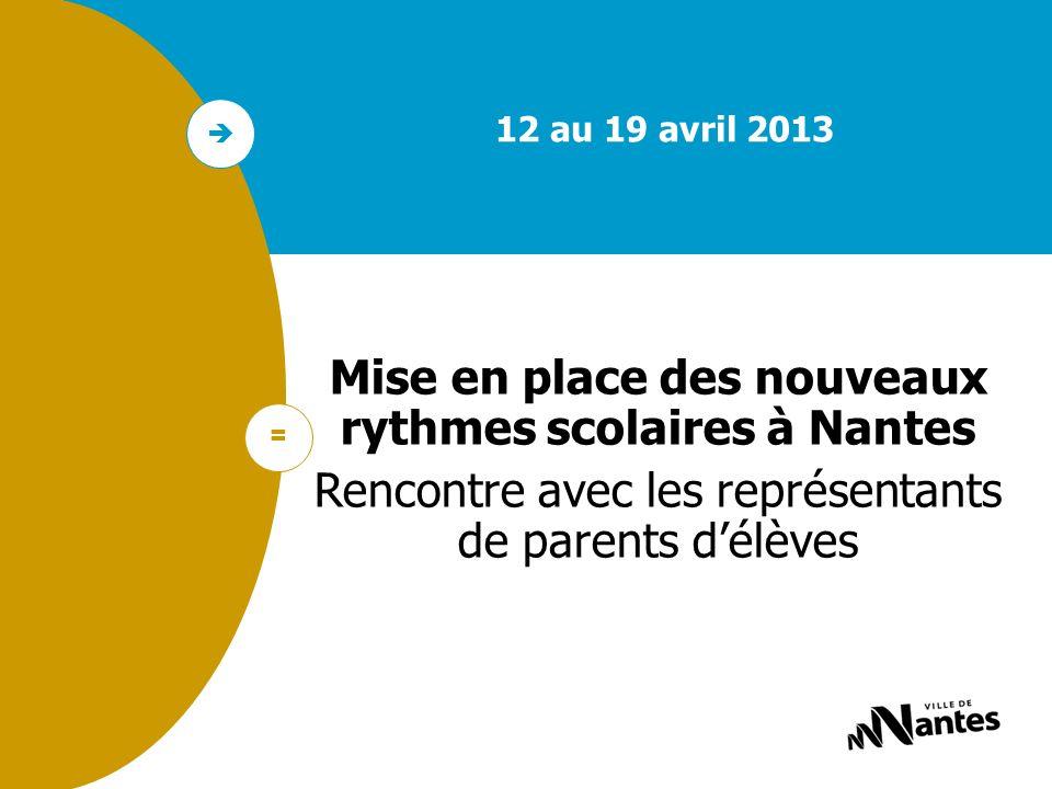 1 Non recour s : et la suite ? 12 au 19 avril 2013 Mise en place des nouveaux rythmes scolaires à Nantes Rencontre avec les représentants de parents d