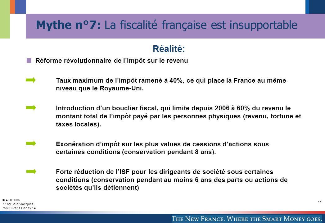 © AFII 2006 77 bd Saint Jacques 75680 Paris Cedex 14 11 Mythe n°7: La fiscalité française est insupportable Réforme révolutionnaire de limpôt sur le revenu Taux maximum de limpôt ramené à 40%, ce qui place la France au même niveau que le Royaume-Uni.