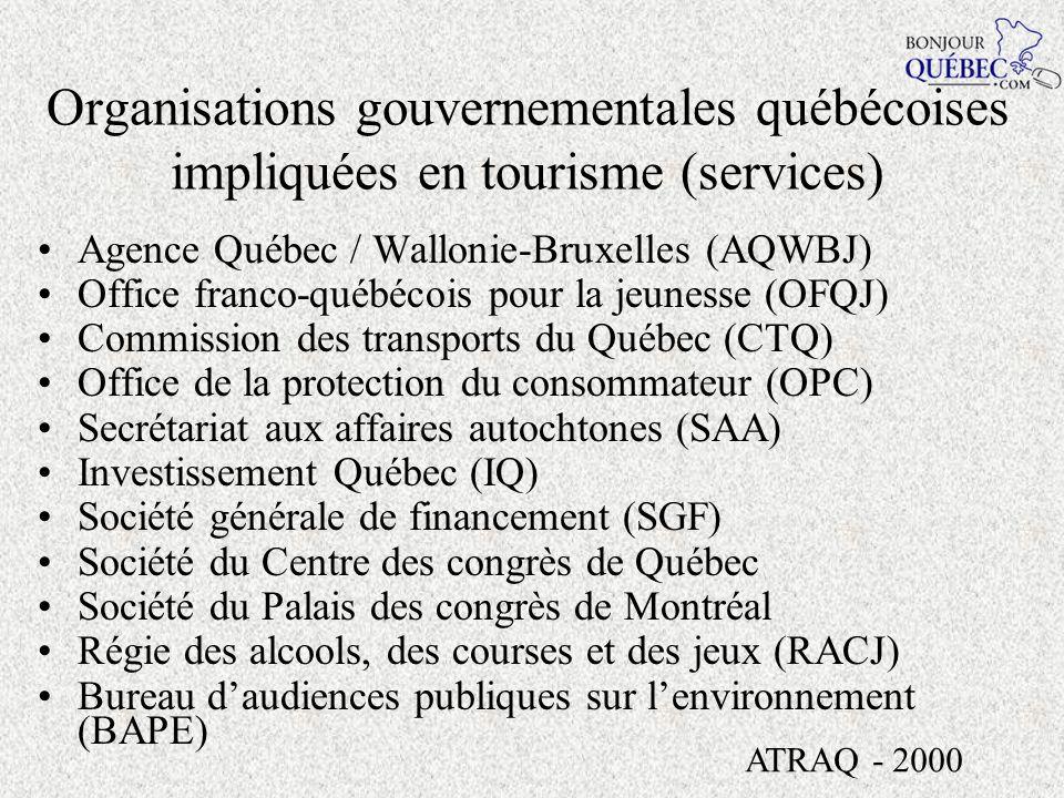 Organisations gouvernementales québécoises impliquées en tourisme Société des Casinos du Québec Régie des installations olympiques (RIO) Société de développement des entreprises culturelles (SODEC) Société des établissements de plein air du Québec (SÉPAQ) Société de la faune et des parcs du Québec (FAPAQ) Fondation de la faune du Québec (FFQ) ATRAQ - 2000