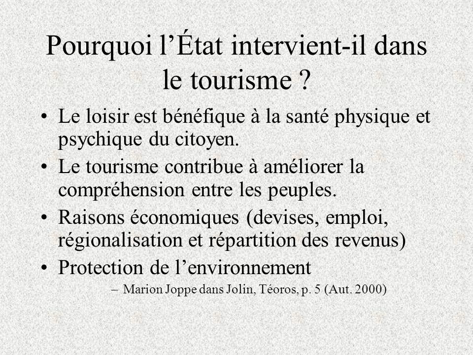 Limplication du gouvernement dans le champ du tourisme. PPK 1044 (2001) François de Grandpré