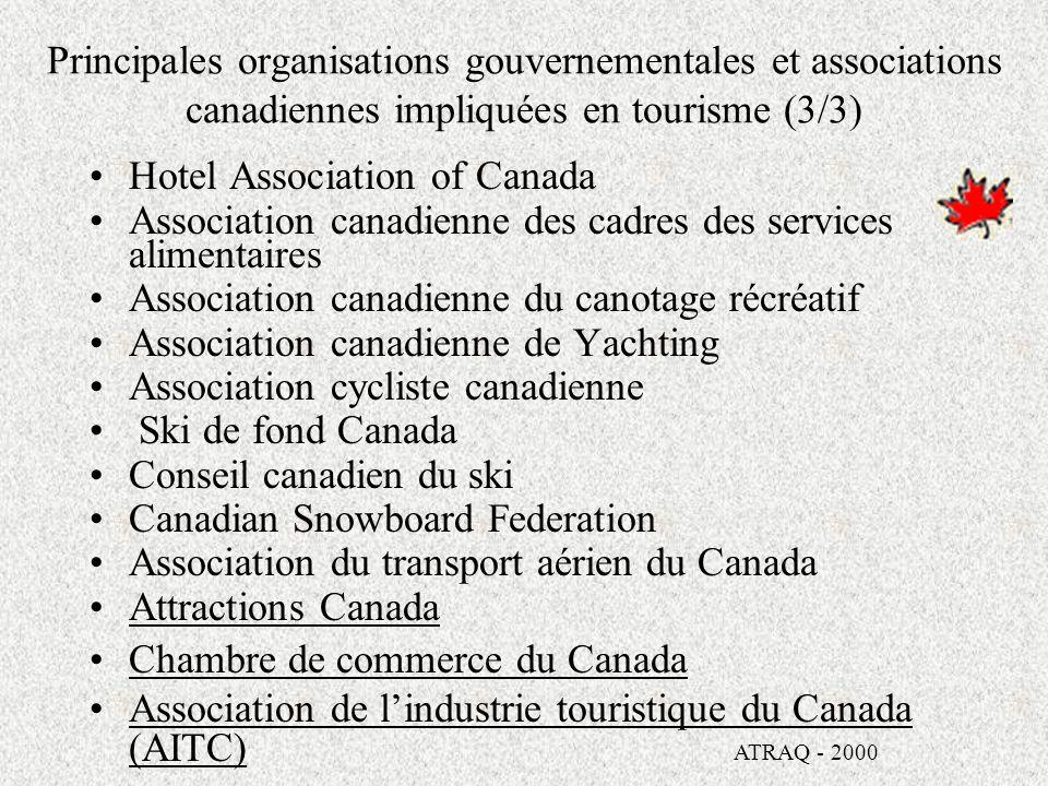 Principales organisations gouvernementales et associations canadiennes impliquées en tourisme (2/3) Transports Canada Statistique Canada LOffice des transports du Canada Banque de développement du Canada Centres de services aux entreprises du Canada (CSEC) Service canadien de la faune (SCF) LAdministration de la voie maritime du Saint- Laurent Québec - Canada ATRAQ - 2000