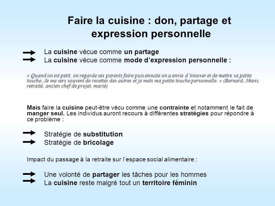 Faire la cuisine : don, partage et expression personnelle La cuisine vécue comme un partage La cuisine vécue comme mode dexpression personnelle : « Qu