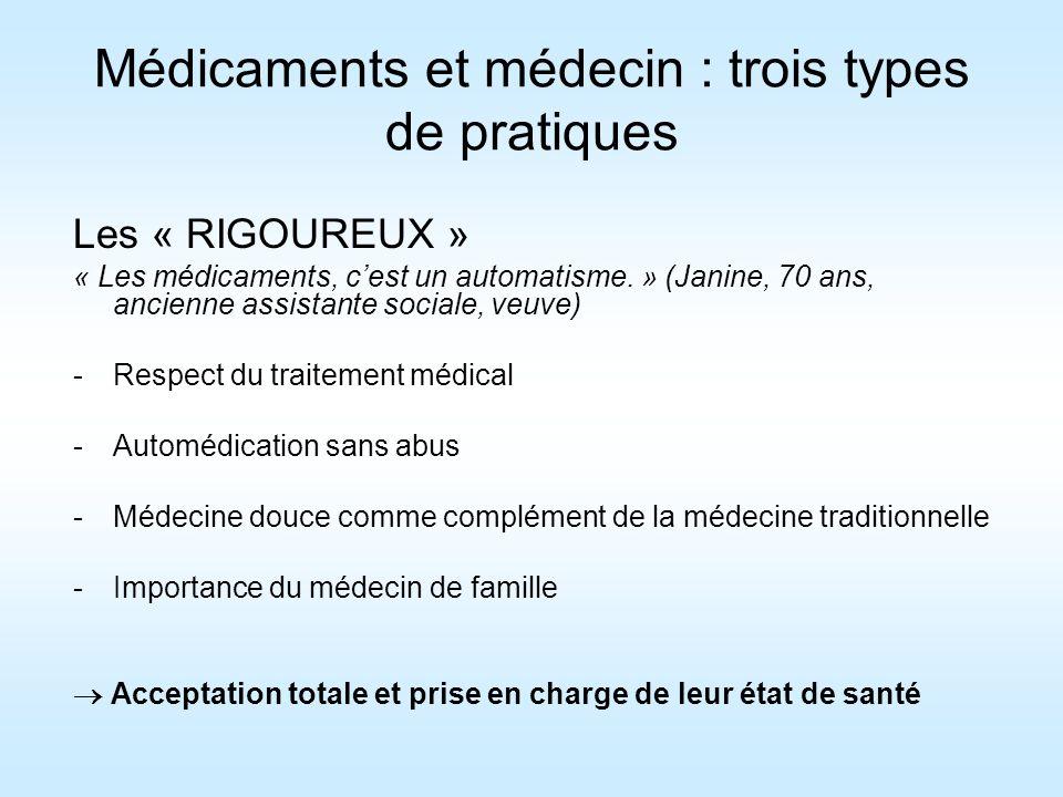 Médicaments et médecin : trois types de pratiques Les « RIGOUREUX » « Les médicaments, cest un automatisme. » (Janine, 70 ans, ancienne assistante soc